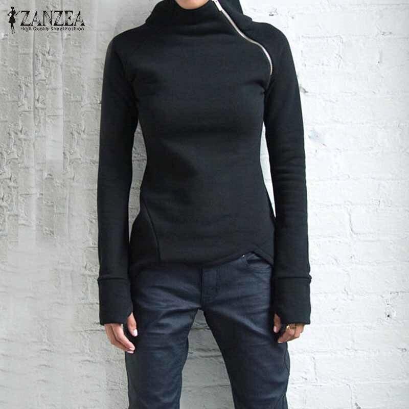 Plus Size Autumn Sweatshirts Women 2019 Casual Solid Long Sleeve Pullovers Hoodies Turtleneck Slim Fit Zippers Oversized 5XL