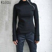 Women Sweatshirts Hoodies Blouses Long-Sleeve ZANZEA Pullovers Turtleneck Zippers Solid