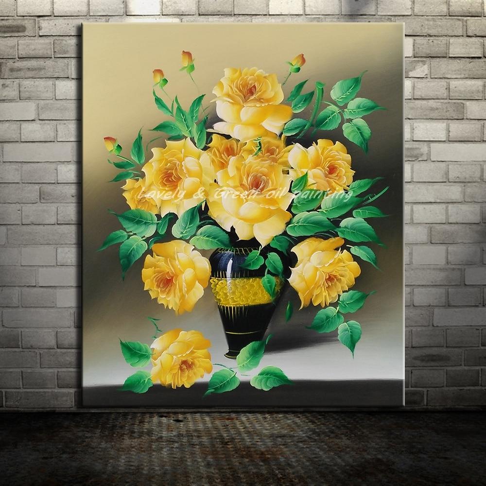 Frameless Canvas Art Oil Painting Flower Painting Design: Frameless Paintings Hand Painted Yellow Flowers Oil