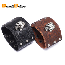 Vintage Punk Big Wide Genuine Leather Braid Wrap Bracelet Skull Bangle Wristband Cuff Snap Clasps for Male Men Jewelry Gifts