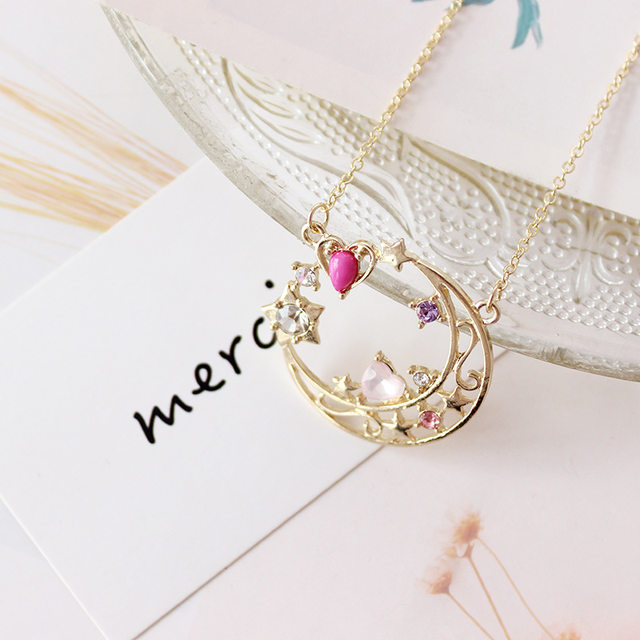 Online shop one piece sailor moon crystal stars pink heart 20th one piece sailor moon crystal stars pink heart 20th anniversary neptune cospaly gold color pendant necklace for kids gilrs women aloadofball Gallery