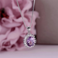 Natural Gemstone Necklaces Pendants For Women S925 Silver Amethyst Oval Purple Necklace Vintage Luxury Accessories CCN013 5