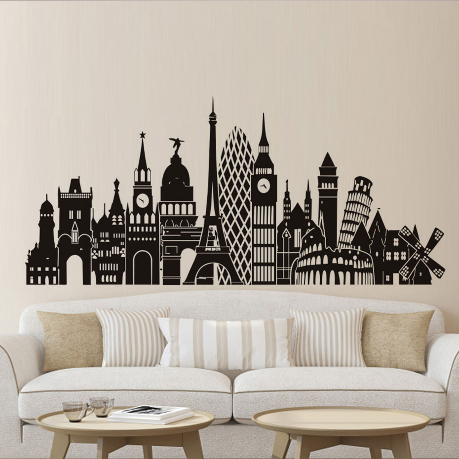 Europe Cities Scenery Wall Decal Most Popular Building Sticker - Vinyl wall decal adhesive
