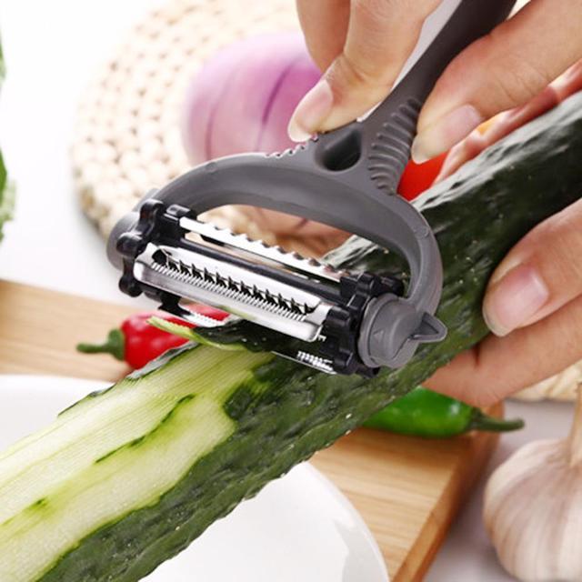 3 в 1 очиститель для овощей и фруктов 360 градусов ротационный картофель терка для моркови нож для репы слайсер Дыня Многофункциональный кухонный инструмент