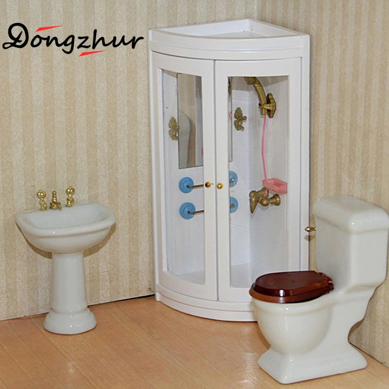 1pc Miniature Dollhouse Furniture Simulation Shower Room Modern