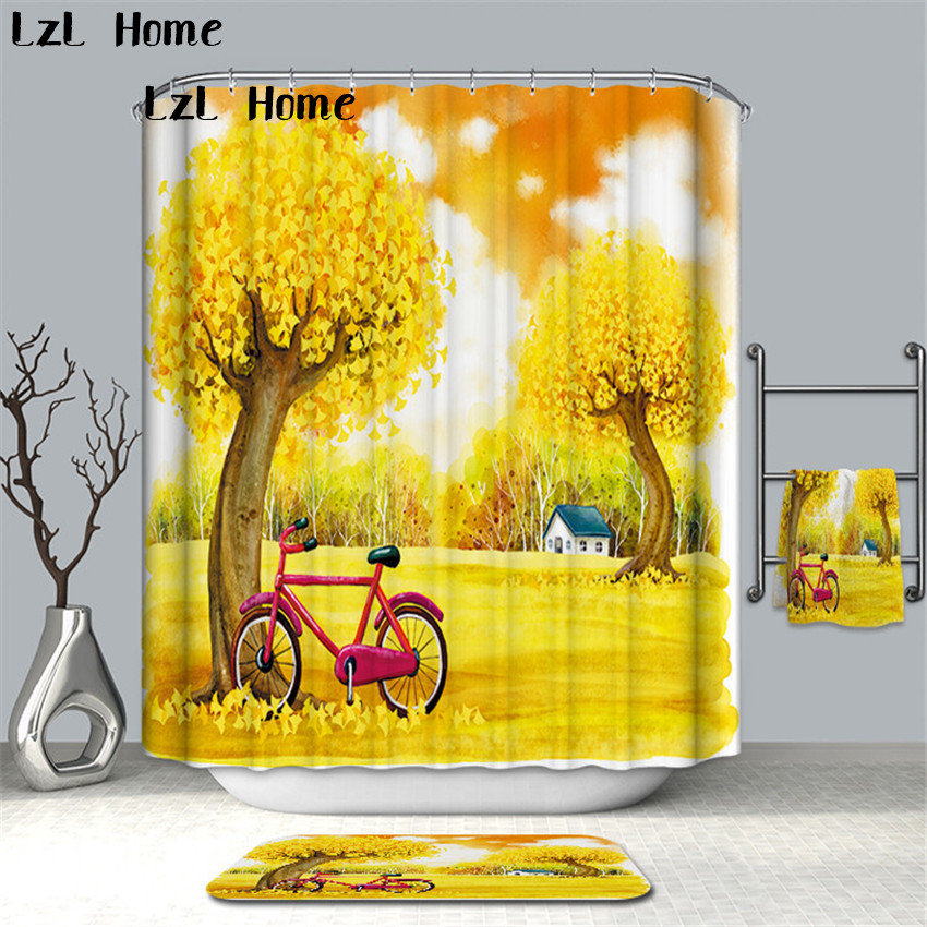 LzL Home Beautiful Scenery Waterproof Shower Curtain Polyester Fabric Bath Bathing Bathroom Curtains With Hooks For Home Decor
