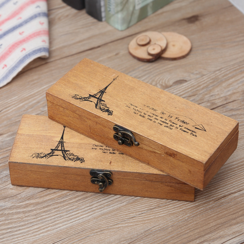 Creative Retro Household Daily Necessities Wooden Storage Box Fashion Office School Supplies Eiffel Tower Pencil Case