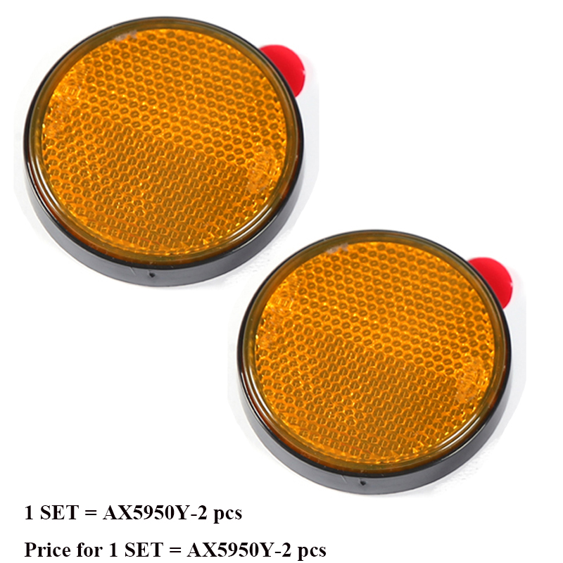 Trailer Truck Lorry Car Accessories 2 Pcs Amber Round Reflector Strip For Bus Rv Caravan Camp Bike Towing Camp Self Adhesive