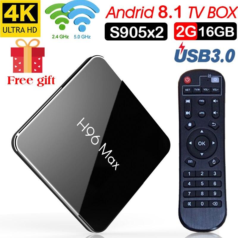 H96 Max caja de tv inteligente android 8,1 Amlogic S905X2 Quad Core 2 GB 16 GB 2,4g 5 GHz wifi android 8 1 4 K Set top tv box