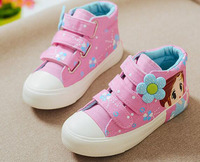 2016 Autumn New Girls Sneakers Floral Canvas Shoes White Pink Navy Sapato Ankle Shoes Girly Princess