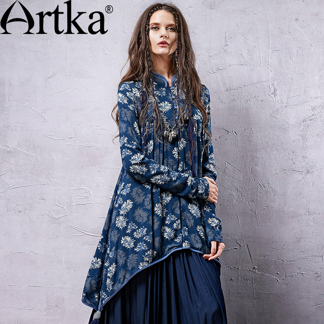 02351ab780 ARTKA Women s Fashion Irregular Mandarin Collar Close Skin Spring New Long  Tassels Hand Five National Printing Shirt SA19939C