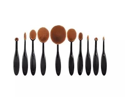 10 pcs Pro Pincéis de Maquiagem Conjunto Escova Conjunto de Pincel de Maquiagem Escova Oval Multipurpose Super Agradável Escova De Dentes sem caixa