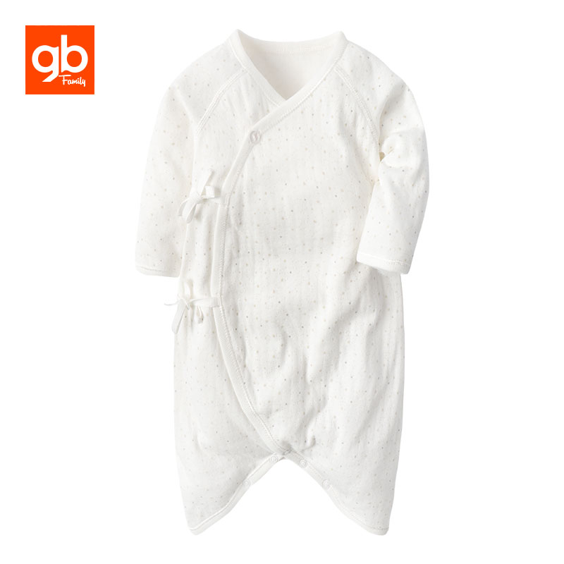 GB Brand Long Sleeve Cotton Baby Rompers Cartoon Printing Lacing One-piece Pajamas V-neck Breathable Homewear for 0-12 M baby rompers o neck 100