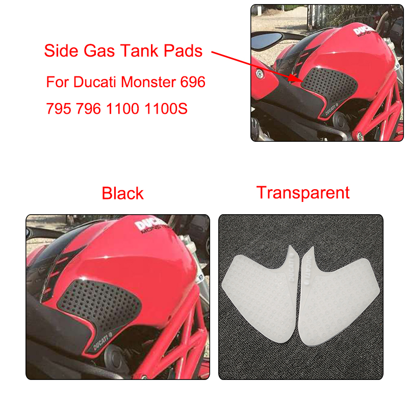 MTCLUB Motorcycle <font><b>3M</b></font> Anti slip Fuel Tank Pad Side Gas Knee Grip Traction Pads For DUCATI MONSTER 696 795 796 <font><b>1100</b></font> 1100S New image