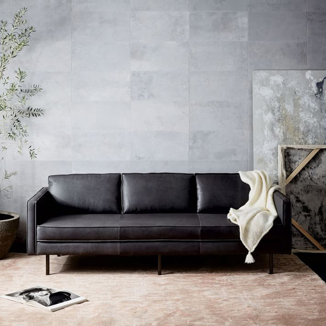 Post-modern light luxury sofa living room combination leather  leather minimalist customizable couch 2