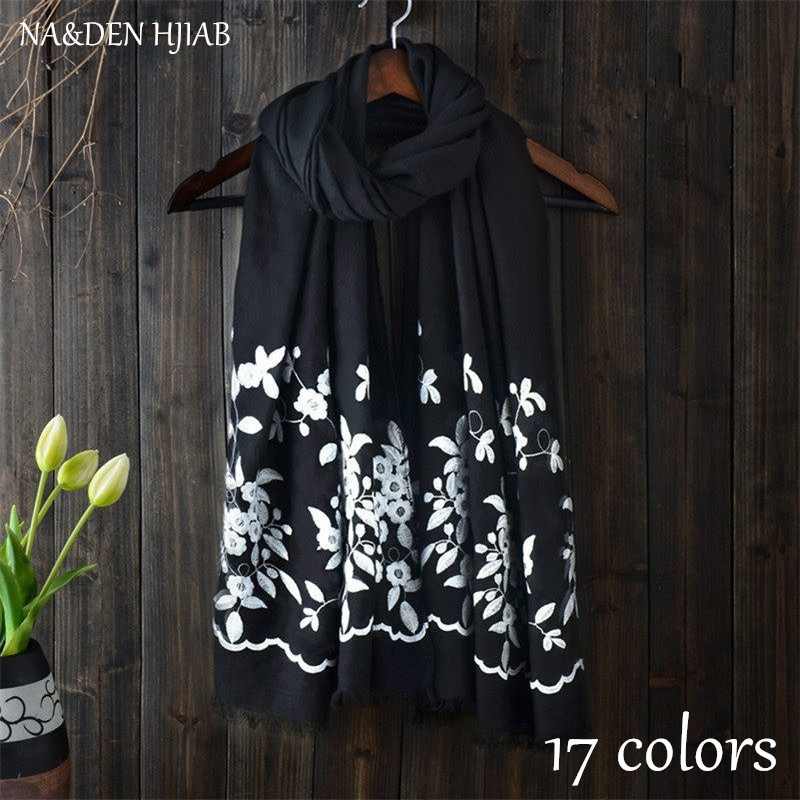 2020 hot embroider floral shawls Muslim hijab woman scarf/scarves pashmina bandana Luxury muslim hijabs Free Shipping 10pcs/lot