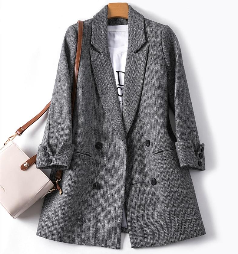 Autumn Winter Suit Blazer Women 2020 Formal Woolen Jackets Work Office Lady Long Sleeve Blazer Double Breasted Outerwear Tops