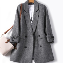Autumn Winter Suit Blazer Women 2020 Formal Woolen Jackets W