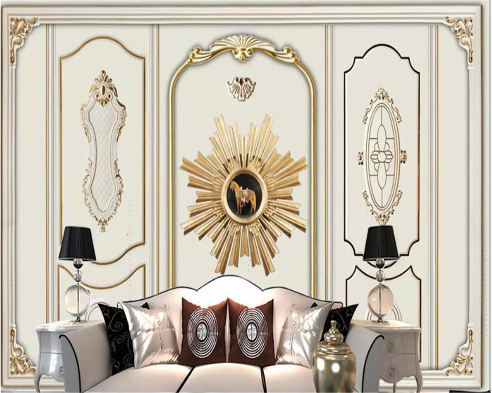 beibehang 3d mural Modern European golden plaster pattern wallpaper 3d TV home decoration background wallpaper for kids room