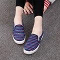 2016 Холст Квартиры Обувь Женщина Красочный Полосатый Повседневная Мокасины Скольжения На Женщин Повседневная Обувь Мокасины Плоским Вождения Женская Обувь