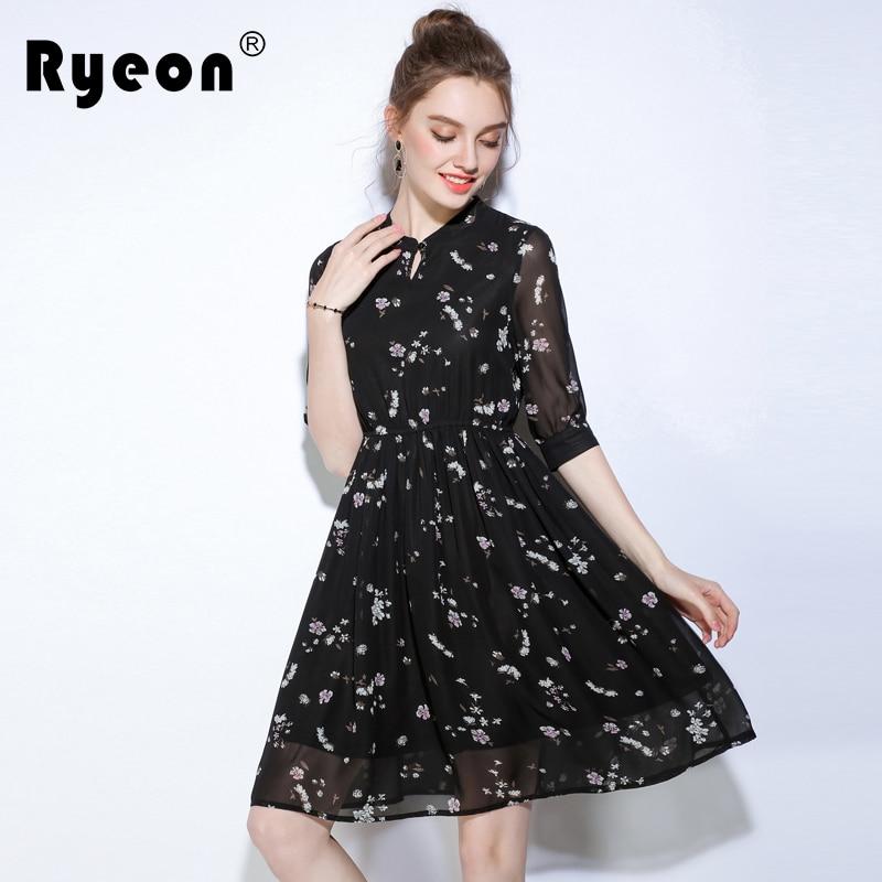 2cd1c3086ce Aliexpress.com : Buy Ryeon 2017 Autumn Summer Tunic Women Dresses Big Sizes Floral  Print Vintage Black Plus Size Chiffon Boho Beach Office Dress 5xl from ...