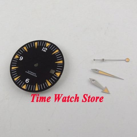Mostrador do Relógio com as Mãos Ajuste Movimento Automático Sterial 31mm Preto Dial Super Luminoso Azul D94 Eta 2824 2836