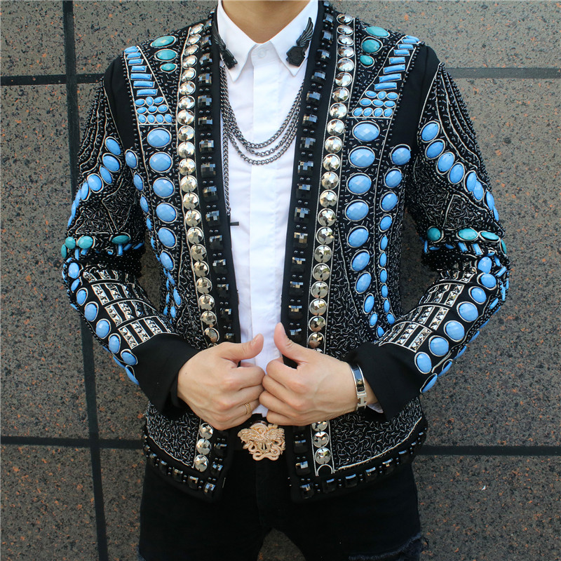 Baroque Style Autumn Winter 2020 Men Luxury Gems Beadings Slim Formal Performance Jacket Short Wedding Uniform Basic Jacket