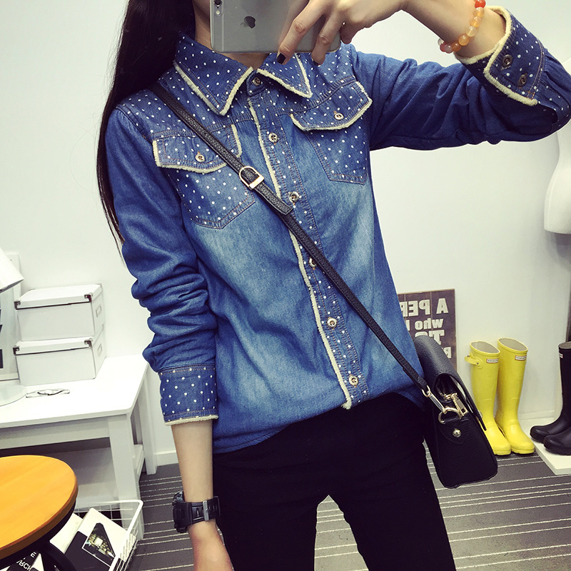 2019 Autumn Winter New Women Jean Shirts Casual Velvet Thick Warm Long Sleeved Denim Shirt Fur Lining Polka Dot Roupas Feminina in Blouses amp Shirts from Women 39 s Clothing