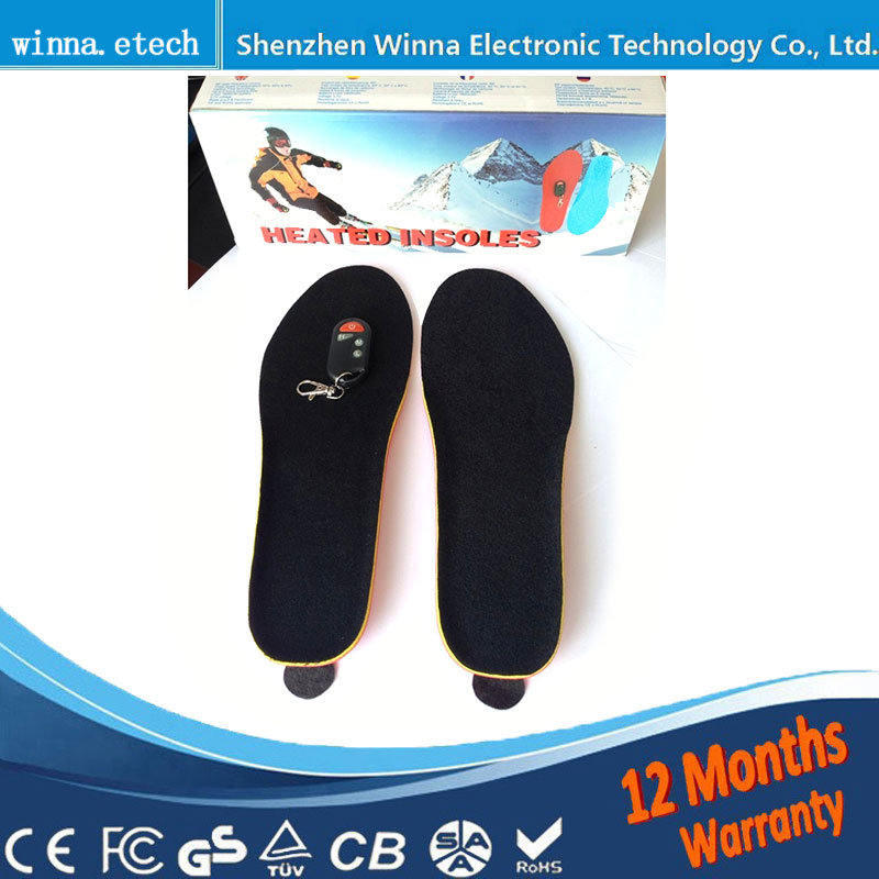 New USB Electric Powered Heating Insoles Winter Keep Warm Foot Shoes Insole Ski insoles blue SIZE 41-46