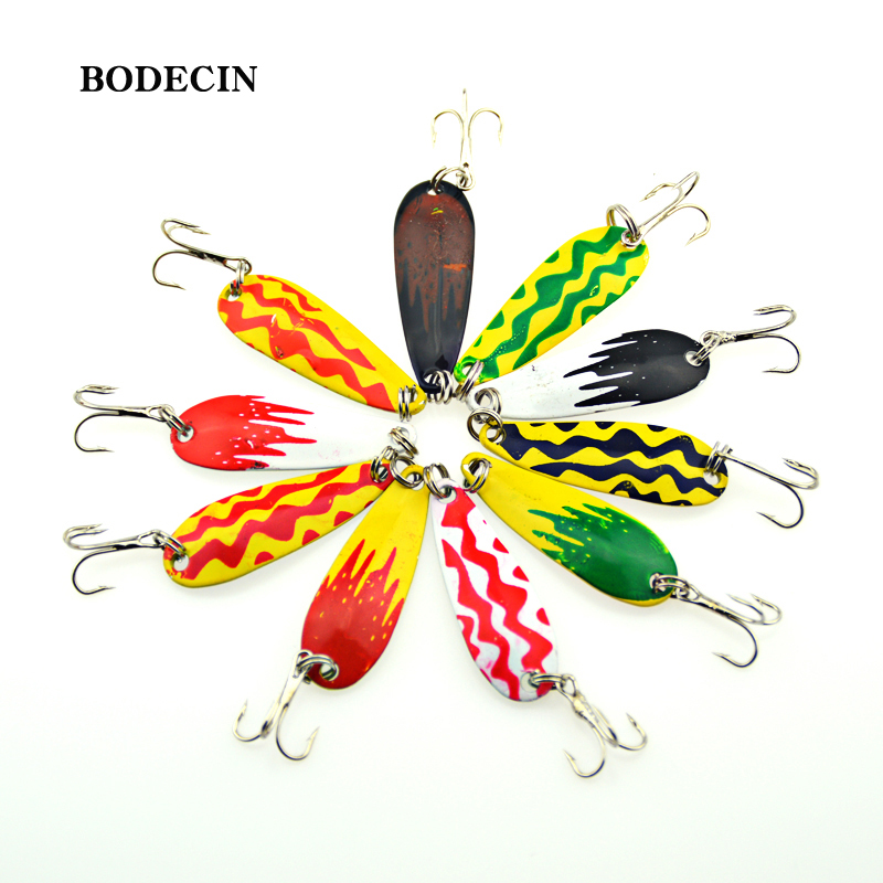 10PCS Spinners Metal Spoon Jig Bait Fishing Lures Wobblers Lure Artificial Baits Peche For Fish Tackle Spinner Hooks Sea Jiging 10pcs 7 5cm soft lure silicone tiddler bait fluke fish fishing saltwater minnow spoon jigs fishing hooks