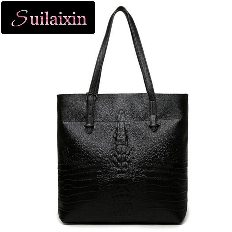 ФОТО Suilaixin Women Designer Brand Crocodile Leather Handbags With Purses Sets Lady Alligator Composite Shoulder Bags  Bolas Mujer