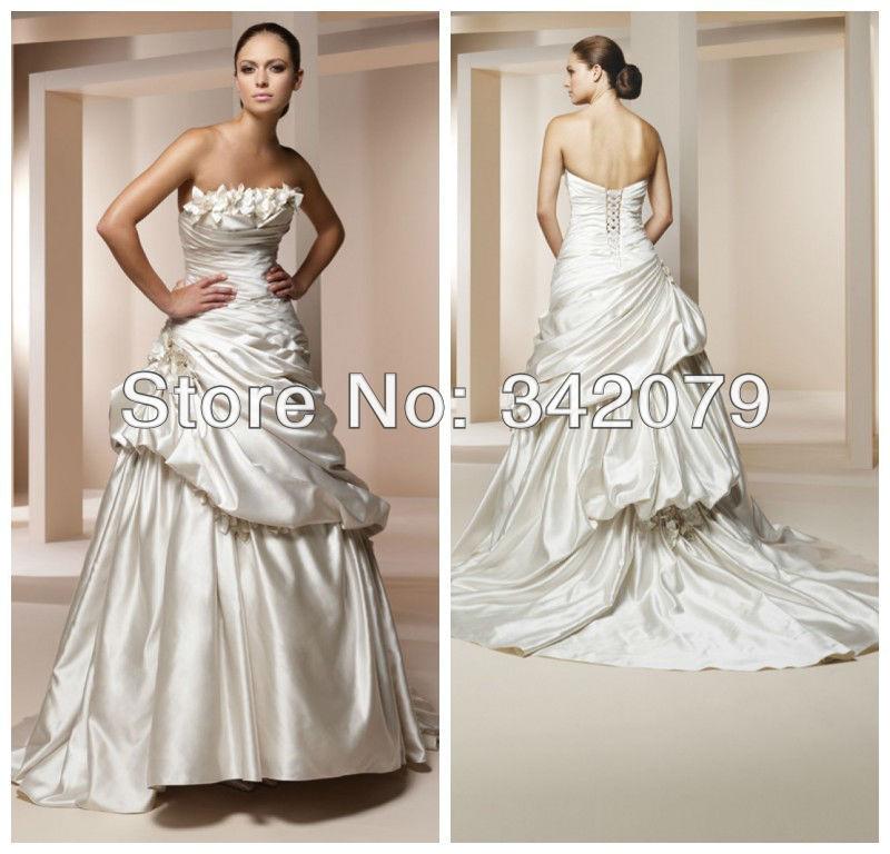 Silk Taffeta Wedding Gowns: Ph10669 Satin Back Taffeta Bridal Gown Pleated Bodice