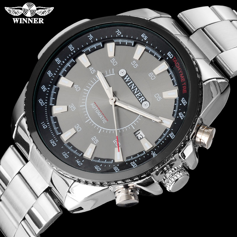 WINNER brand men luxury automatic self wind watches mechanical fashion sport watch auto date stainless steel Relogio Masculino tevise men automatic self wind gola stainless steel watches luxury 12 symbolic animals dial mechanical date wristwatches9055g