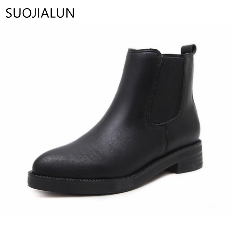 SUOJIALUN Women Black Ankle Boots Low Heel 3.5CM Women Shoes Winter Pointed Toe Boots Microfiber Leather Autumn For Woman women autumn winter boots 2016 new fashion genuine leather shoes woman ankle boots low heel square toe black shoes riding boots