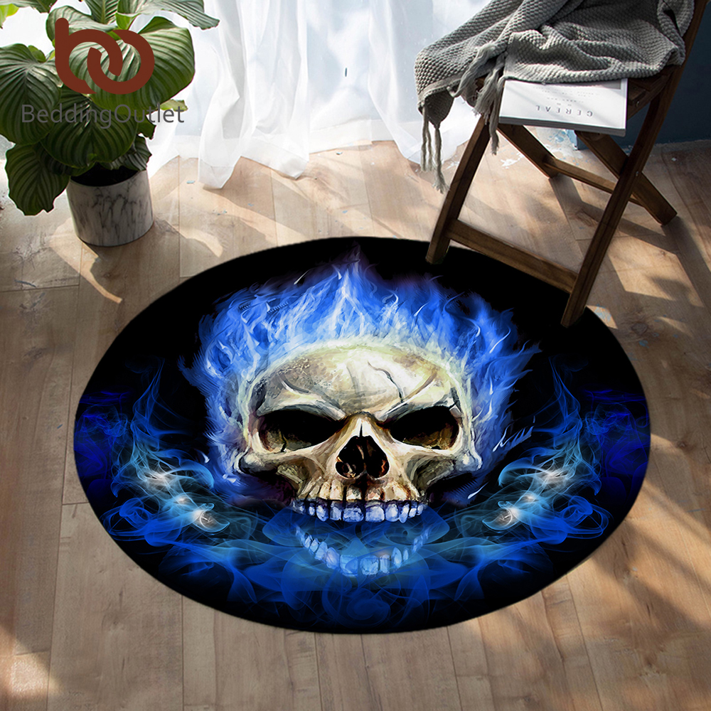 BeddingOutlet Flame Skull Round Floor Carpet Gothic Anti-slip Area Rug Bedroom Blue Fire Decorative Tapete Kids Play Mat 100cm
