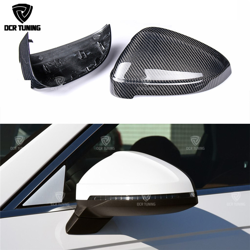 Replacement Style and Add On Style For Audi B9 A4 S4 A5 S5 2016 - UP Rear View Side Mirror Cover Carbon Fiber Mirror Caps for ford mustang 2008 2009 2010 2011 2012 2013 add on style carbon fiber rear view mirror cover black finish