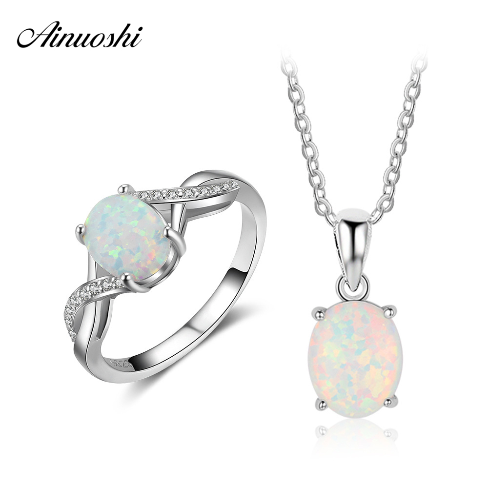 AINUOSHI Pure 925 Silver Pendant Necklace Ring Set Bright Light Blue Opal Ring Link Chain Set Lady Pendant Ring Fine Jewelry Set double ring letter link chain pendant necklace