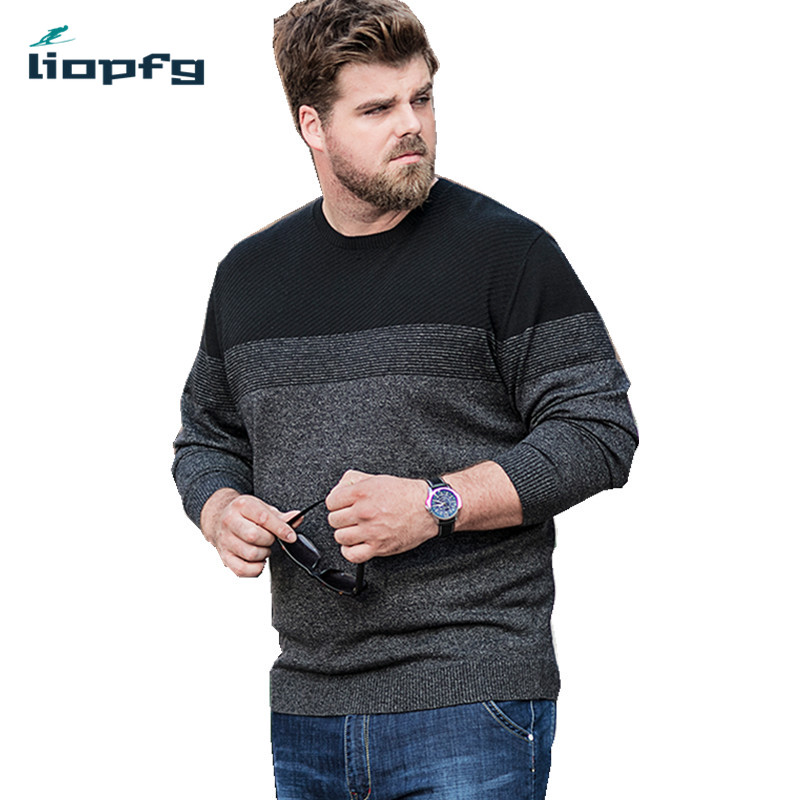 2018 New Men Autumn Winter Sweater Male Thick Warm Pullovers Patchwork Knitted Sweater O-neck Comfortable High Quality PQ246