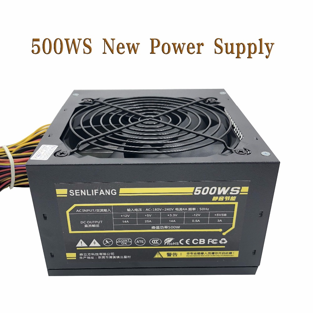 500W Max Silent Power Supply for 180V-240V Red fan blade PC Desktop Computer Power Supply PSU PFC full module abee er 2750a rated 750w dual fan 8cm desktop stable silent power