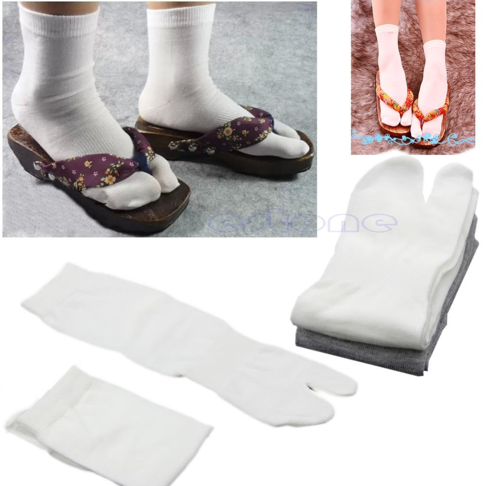 1Pair Unisex Japanese Kimono Split Toe Geta Clog Flip Flop Cotton Tabi Socks  White/Gray