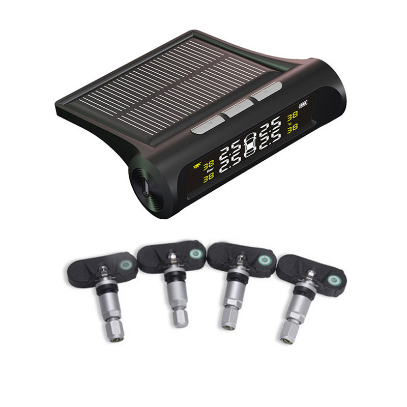 Solar Wireless TPMS Car Tire Pressure Monitoring Digital LCD Display Auto Security Alarm Systems 4 External