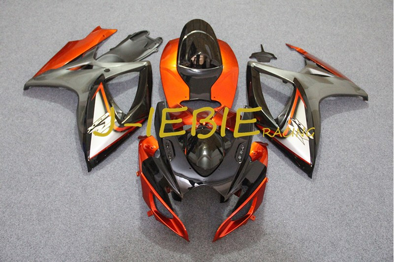 Orange Black Injection Fairing Body Work Frame Kit for SUZUKI GSXR 600/750 GSXR600 GSXR750 2006 2007