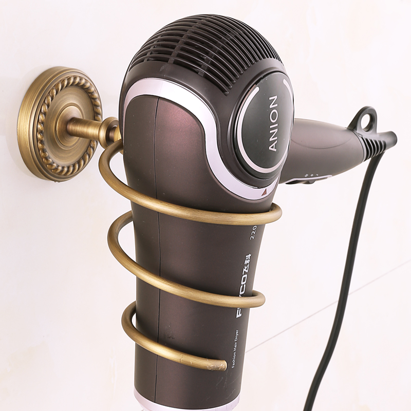 European Hair Dryer Holder/shelf Solid Brass Hair Dryer Hanger Bathroom Pendant Storage Rack Cylinder Bathroom Shelves