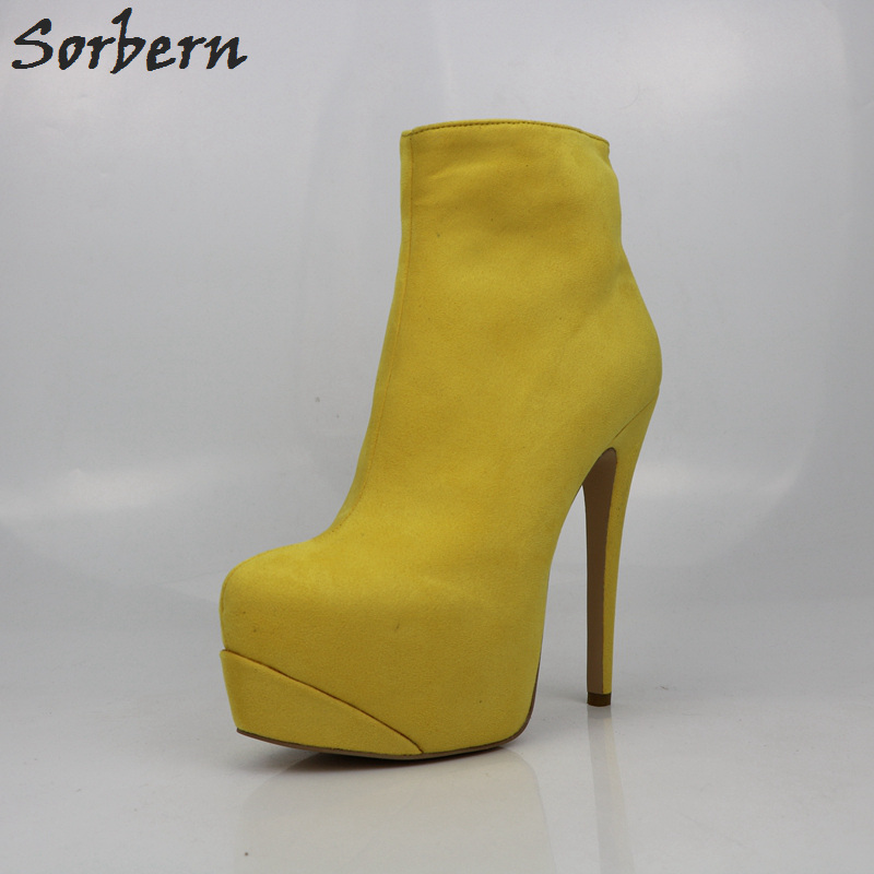 Sorbern Big Size Yellow Women Ankle Boots Designer Shoes High Heel Boots Custom Colors Woman Shoes Size 12 Fashions 2018 sorbern extrem high heel strange style wedges thigh high boots designer platform boots long custom shoes women plus size 4 15