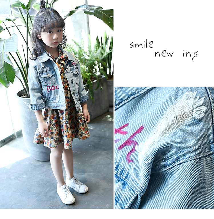 [Bosudhsou] TX-1 Ripped Denim Jackets Boy Girl Autumn Children's Clothing Outerwear Causal Scrawl Baby Kids Jeans Coats