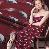 114 cm large 12.5mm 100% soie naturelle oiseau impression vin rouge soie double crêpe tissu pour la robe chemise vêtements NN031