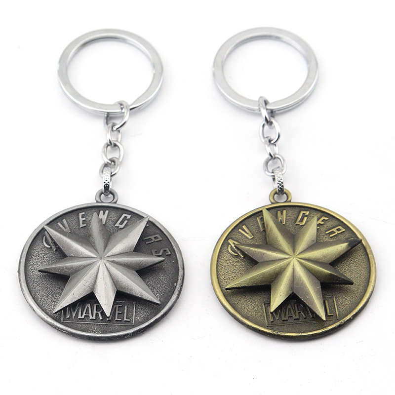 The Avengers 4 Captain Marvel Logo Rotatable Keychain Cosplay Pendant Key Chains  Men Gift Movie Jewelry Key Rings
