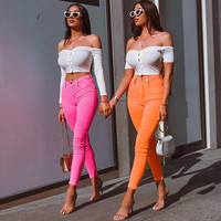 Fasion Green Red Orange Street Fashion Slim Casual Trendsetters Sexy High Waist Pencil Pants