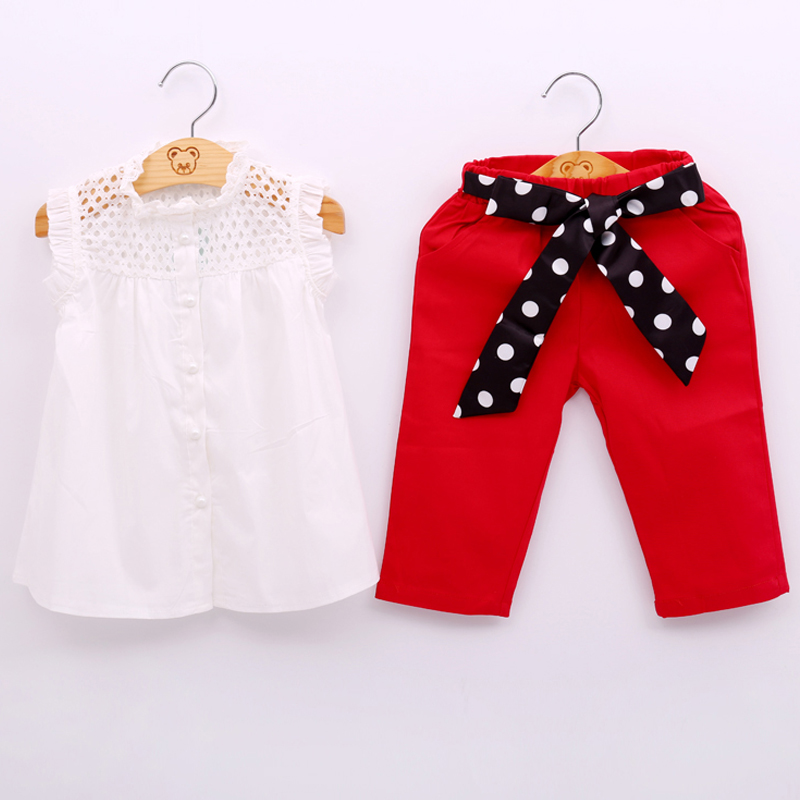 2018 New Summer Fashion Girl Lace White Blouses+ Red Pants Clothing Set Kids Clothes Sets Twinset Children Clothing набор фрез hammer 222 006 15шт