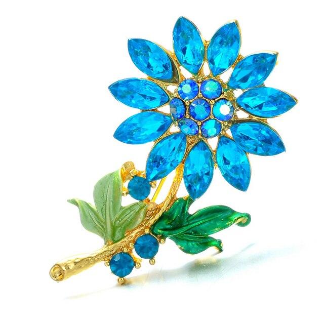 Charms birthstone Fashion Wedding Collar Plant flower Brooch Pins Rhinestone bro